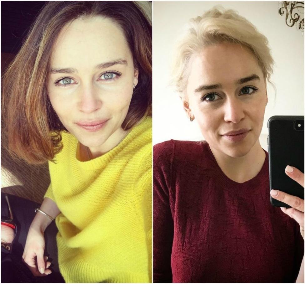 Emilia Clarke (versión natural y su cambio a Daenerys Targaryen en Juego de Tronos)